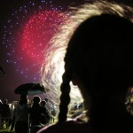 Daughter Watches Fireworks